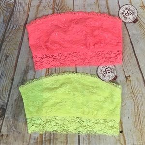 NWT SO lace bandeau top bra set of 2 coral lime